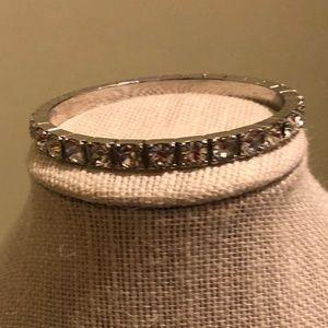 Graziano Silver Bangle Bracelet w/ Crystals
